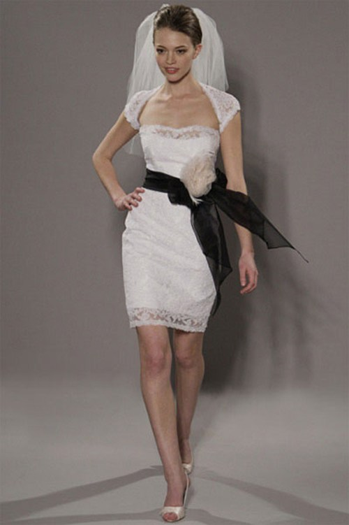 short wedding dress with cap sleeves and veil
