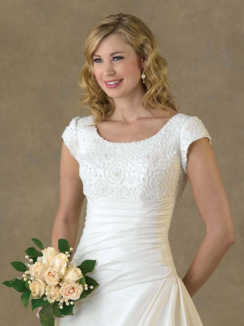 short wedding dress with short sleeves