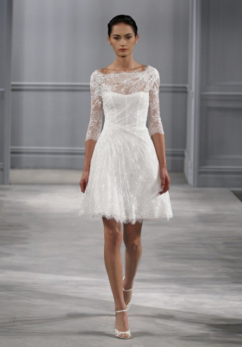 short wedding dresses with 3/4 sleeves