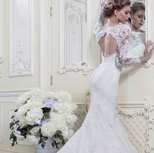 lace fitted long sleeve wedding dress