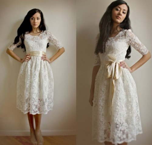 vintage lace short wedding dress with sash