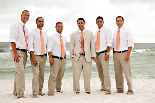 casual beach wedding attires for men with pink ties