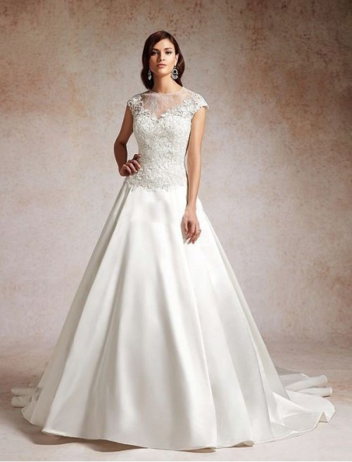 illusion neckline satin and lace wedding dress with a-line silhouette