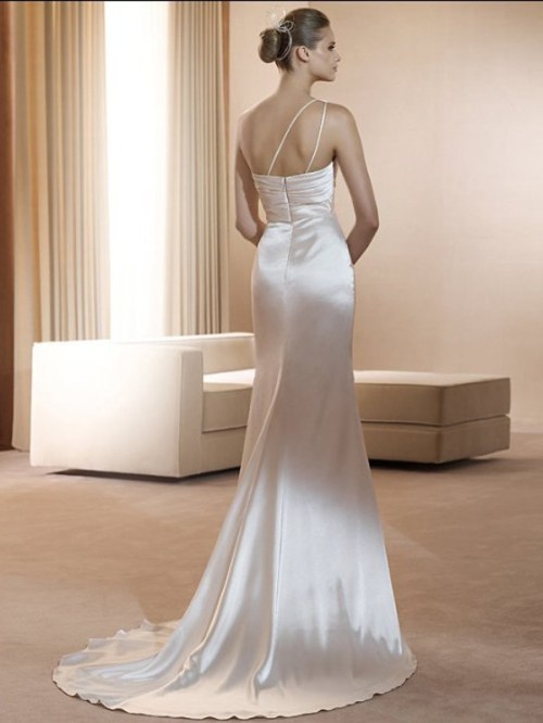 satin sheath silver wedding dress with one shoulder