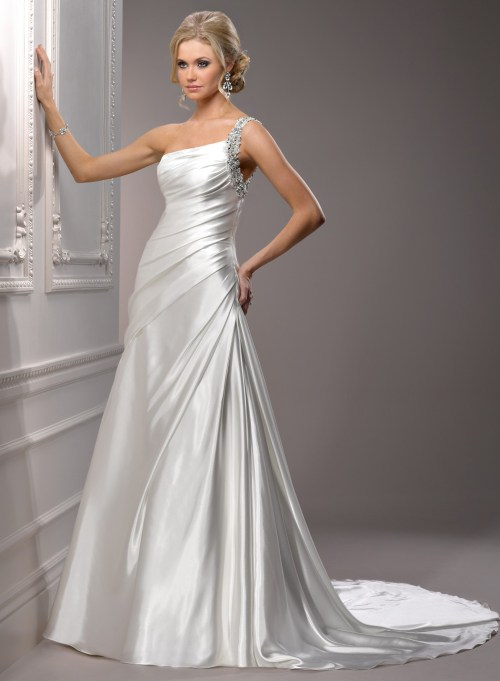 satin wedding dress with one shoulder