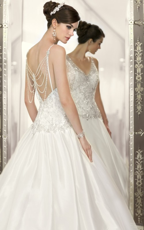 beaded back wedding dress with v-neckline