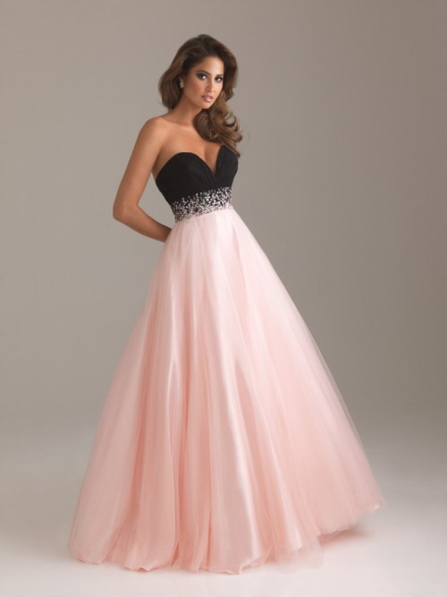 pink a-line wedding dress with black accent