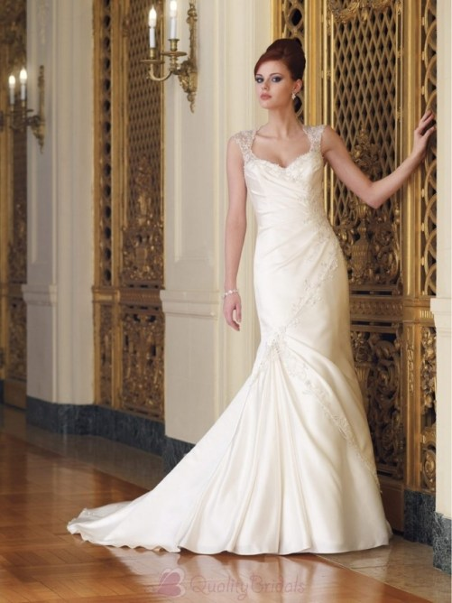 sweetheart neckline wedding dress with beaded cap sleeves