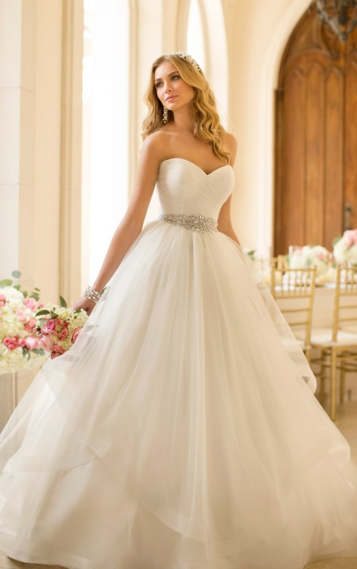 Stella York floor length sweetheart wedding dress