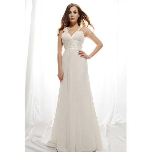 sexy v-neck summer wedding dress with a-line silhouette