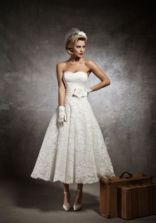 ankle length sleeveless lace wedding dress with strapless neckline
