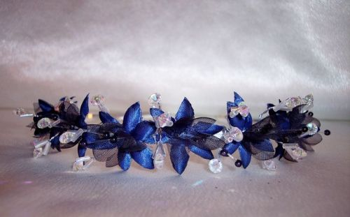 blue star flower wedding tiara