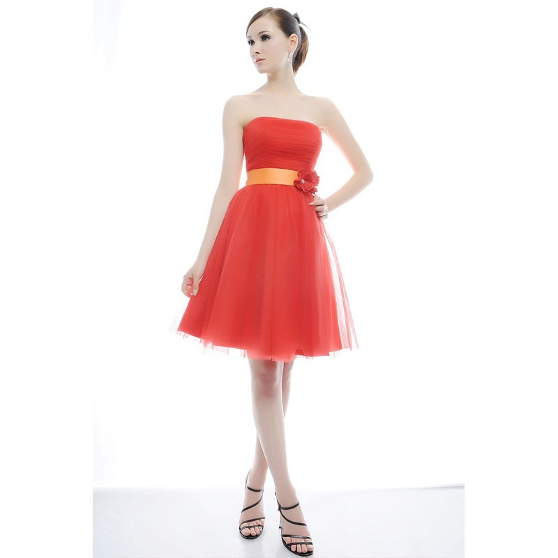 short strapless red wedding dress with sash