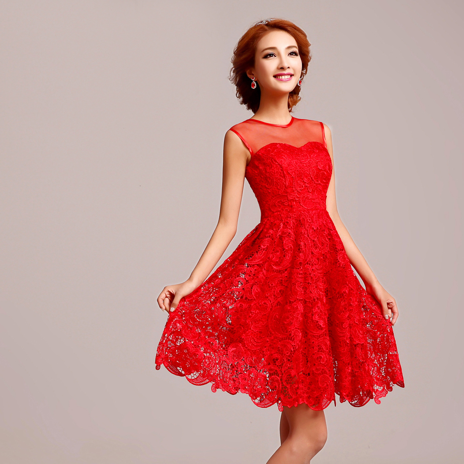sleeveless Chinese red short floral lace wedding dress