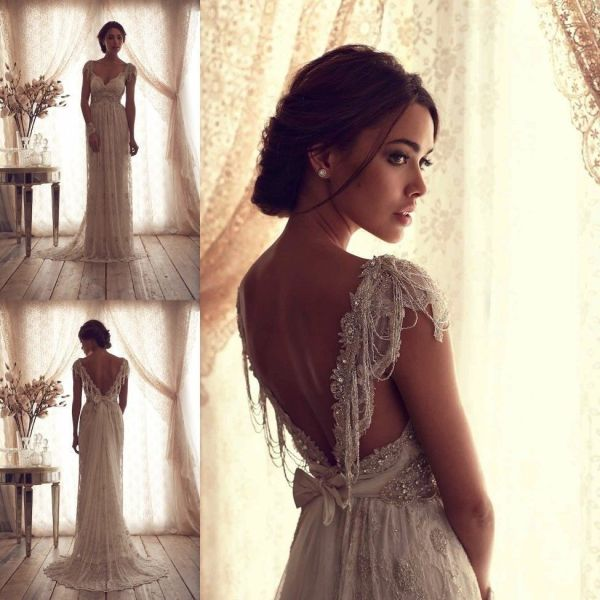 classic vintage lace wedding dress with v-back