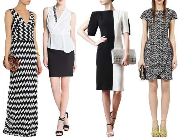 elegant black and white wedding guest outfits