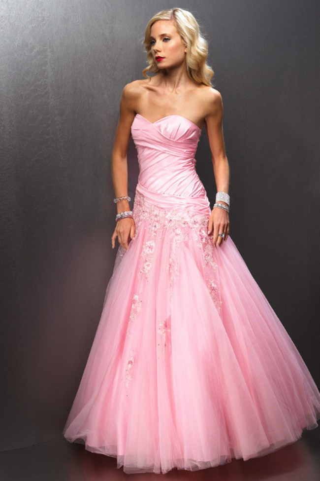 sweetheart pink prom dress with a-line