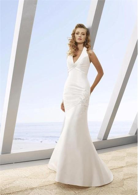 beach mermaid sleeveless wedding gown