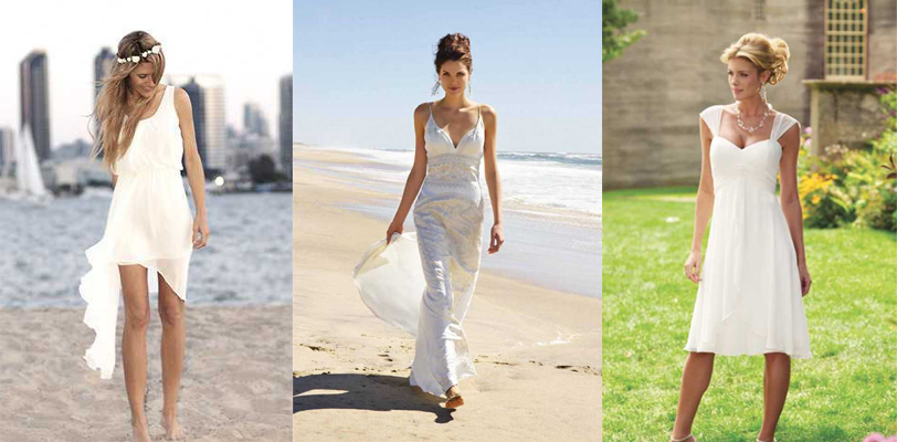 casual a-line beach wedding gowns