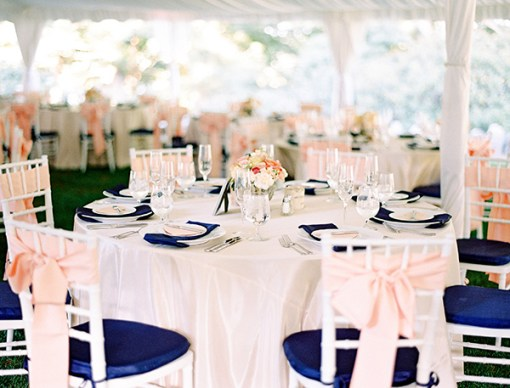 navy blue and coral wedding decoration ideas