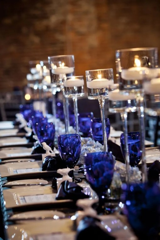 navy blue and silver wedding decoration
