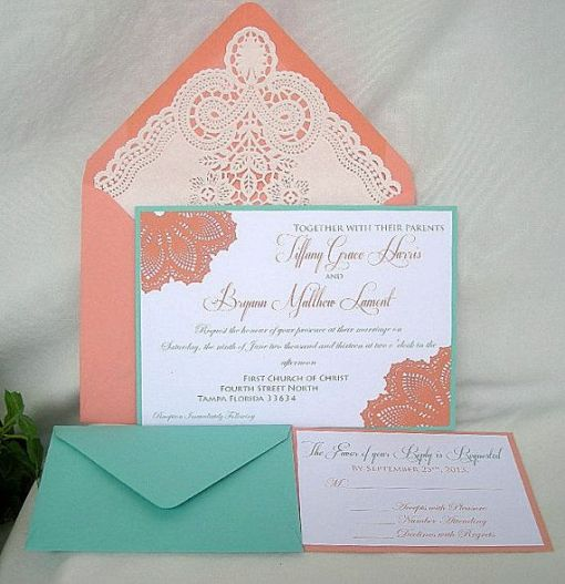 tiffany blue and coral wedding invitations