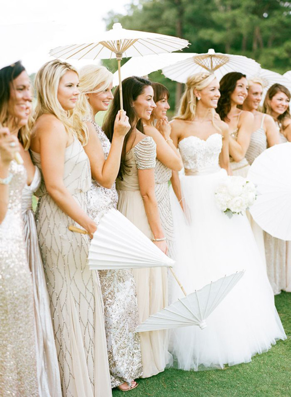glitter gold bridesmaid dresses with straps