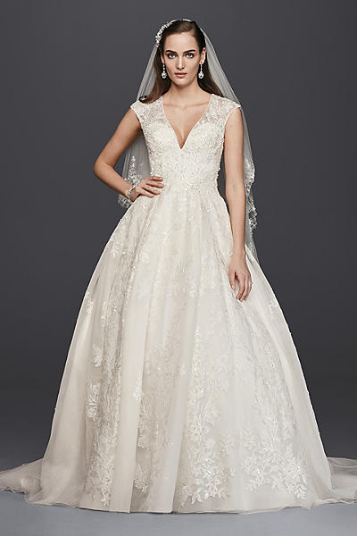 amazing ball gown wedding dress with cap sleeves