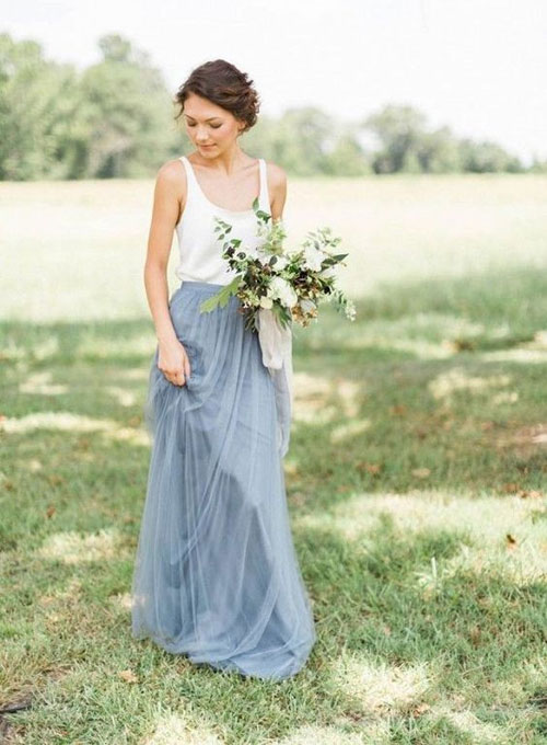 2 piece white and light blue bridesmaid dress