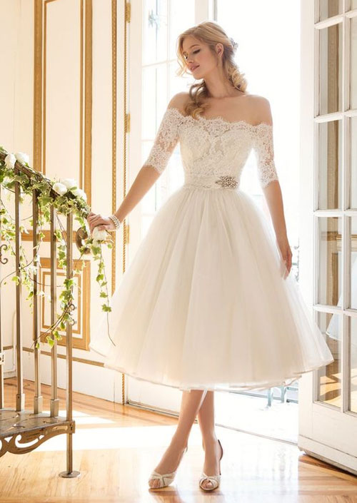 50s inspired tea length wedding dress