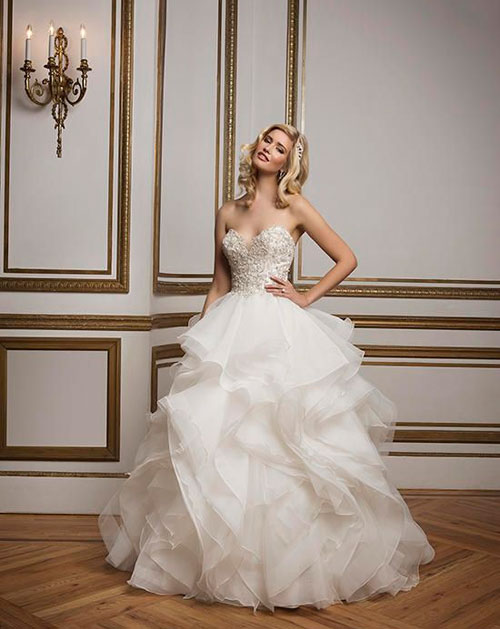 ball gown tiered wedding dress with bling