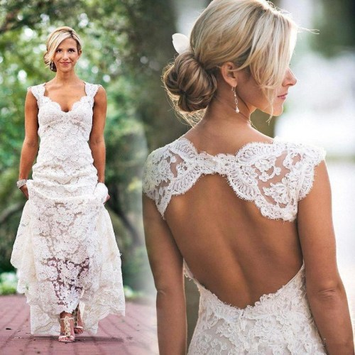 cheap lace wedding dress with open back