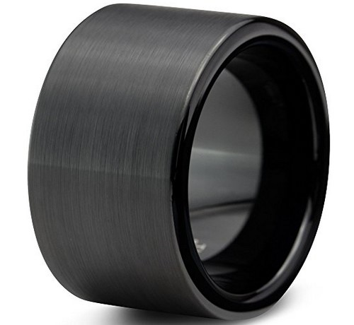 12mm mens black tungsten wedding band