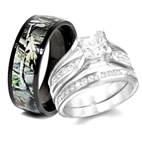 Camo Sterling Silver Wedding Ring Set For His And Hers Sang Maestro