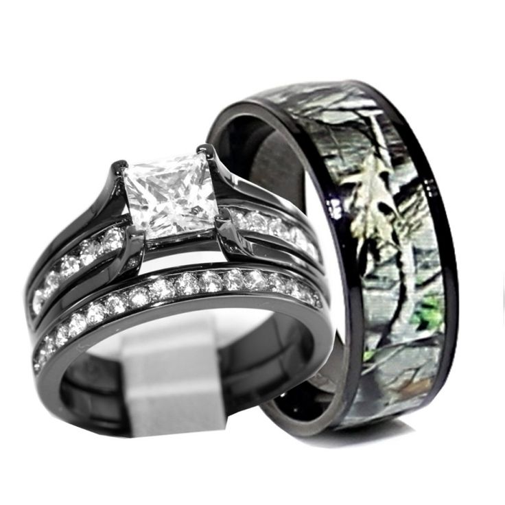camo wedding ring set his and hers