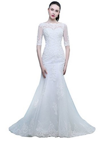 cheap mermaid white wedding dress under 100