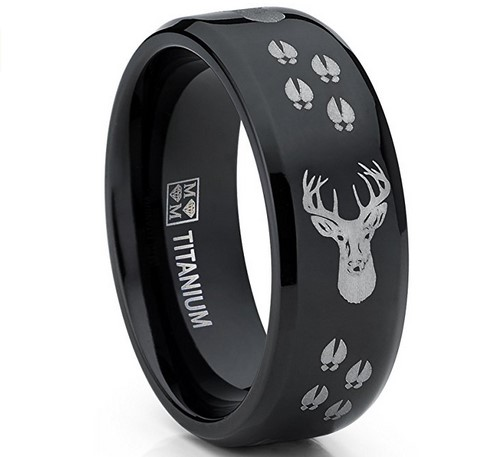 men's black polished deer head titanium wedding band