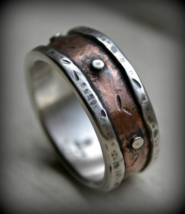mens country copper handmade wedding band