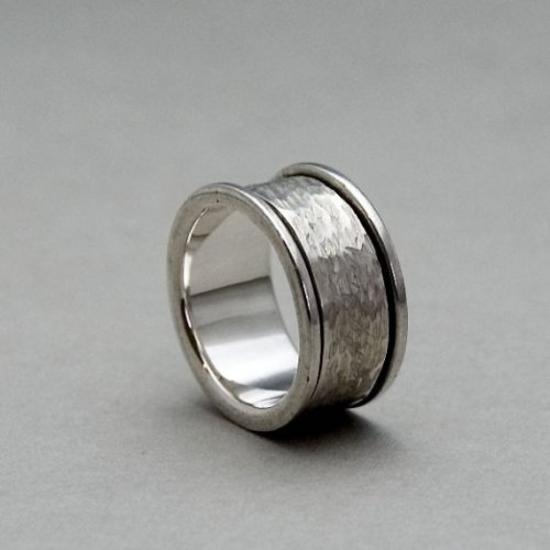 mens silver spinner wedding band