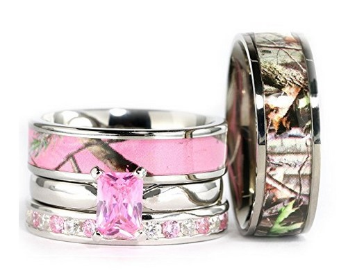 pink silver camo wedding ring set