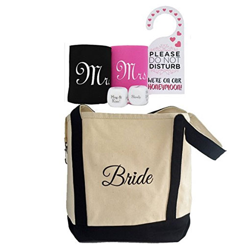 bride tote bag and honeymoon survival kit for bridal shower gift for her