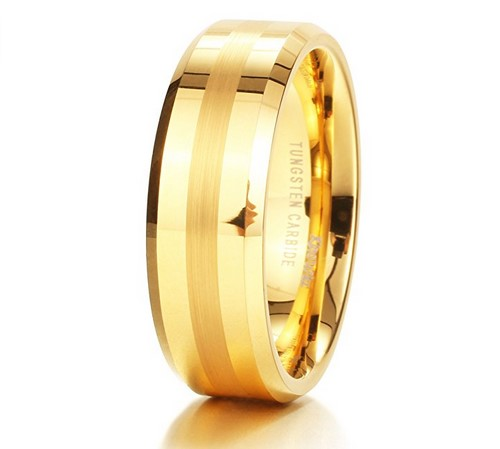 mens tungsten carbide 18k yellow gold wedding band under $100