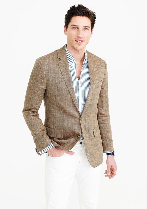 linen-blend blazer men beach weding attire
