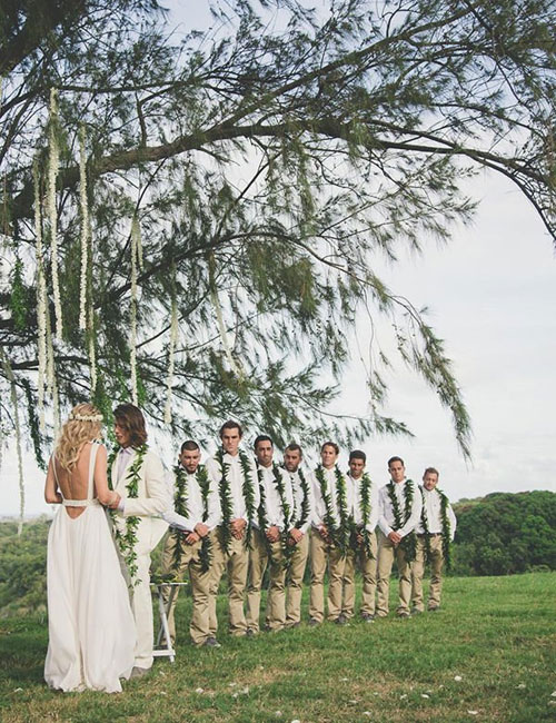 men beach wedding outfits with hawaiian inspiration