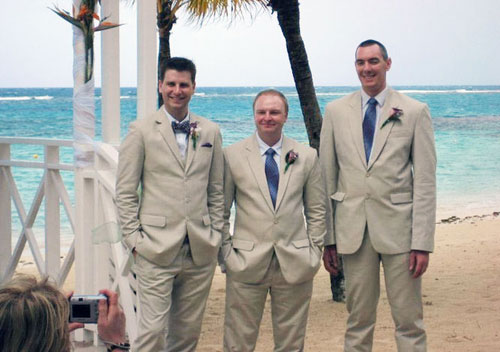 men beach wedding outfits with tiny ties