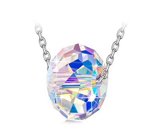 silver cube pendant necklace with crystal