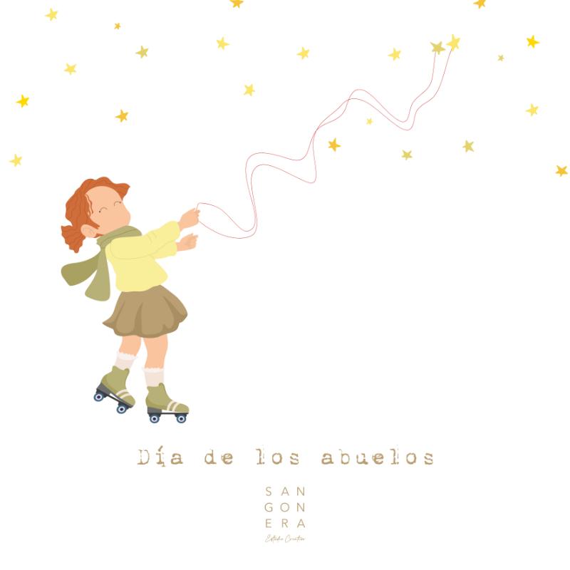 Ilustración Personalizada Niña con patines, Día de los abuelos, estrellas, Sangonera Design