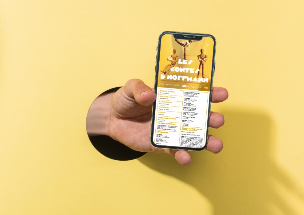Díptico Digital, programa de mano Digital opera Les Contes D'Hoffmann, Los cuentos de Hoffmann, Conservatorio Superior Joaquín Rodrigo de Valencia, Sangonera Design