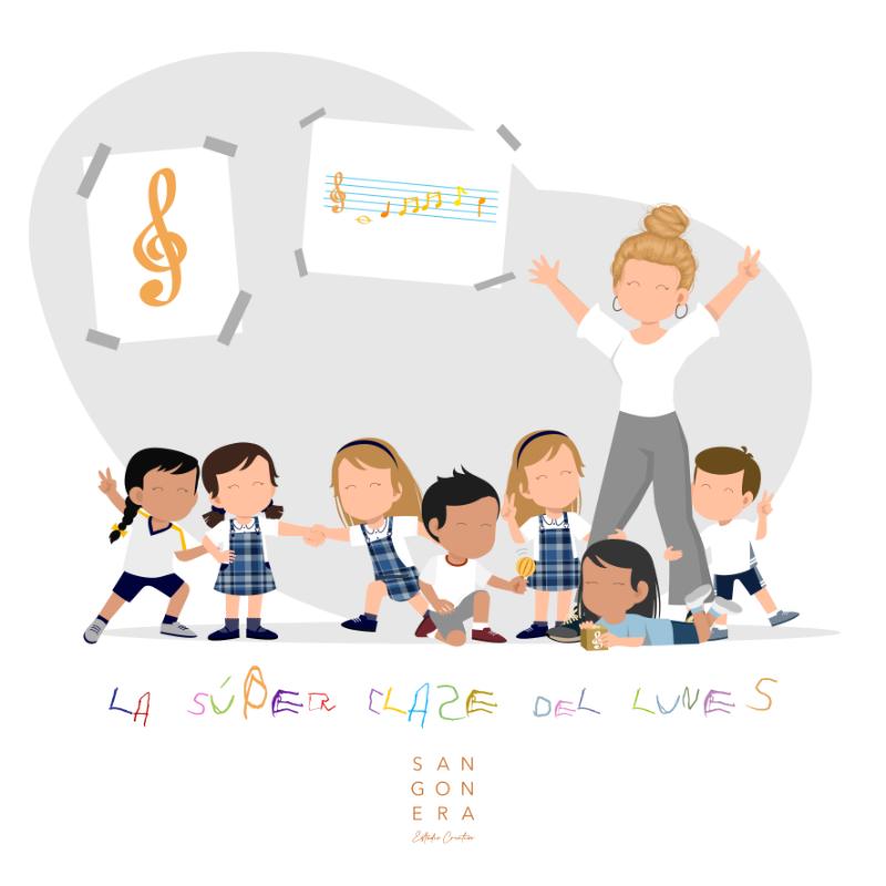 Ilustacion Personalizada clase de música, profesora, niños, la super clase del lunes, Sangonera Design