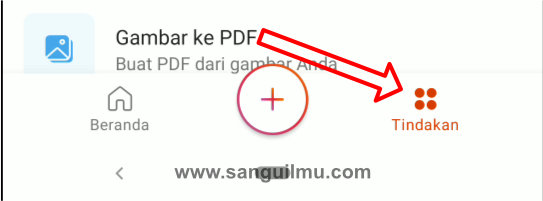 Klik tindakan di aplikasi Office